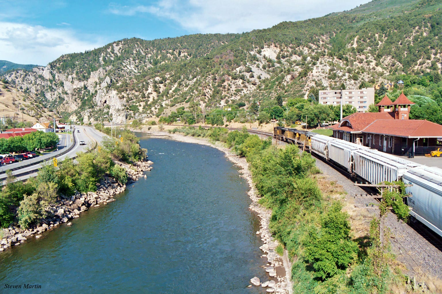 Colorado River Glenwood Springs CO Train Passing By