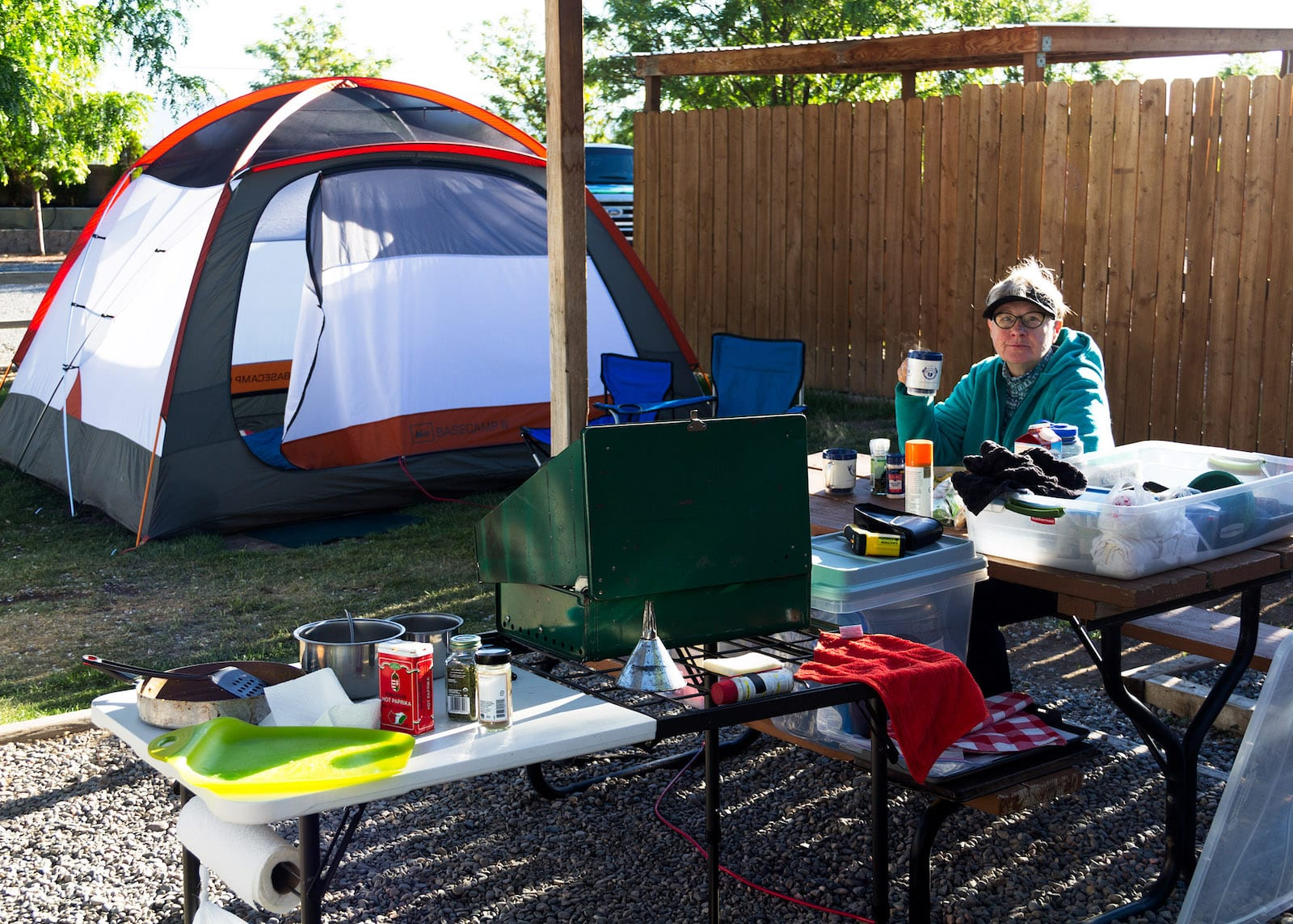 Tent Camping at Grand Junction KOA Holiday Eating Lunch