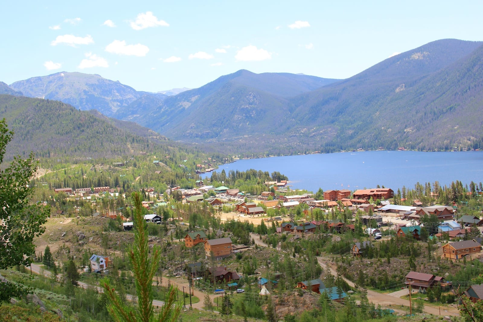 Grand Lake Colorado Town Aerial View