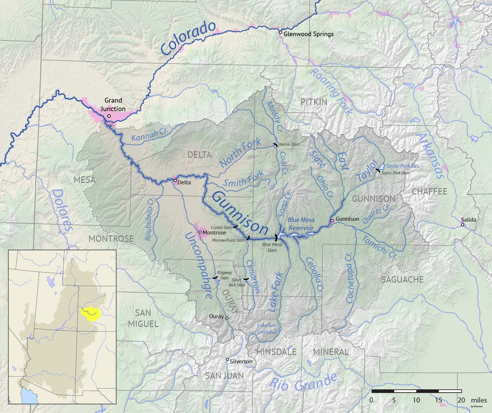 Gunnison River Drainage Basin Map