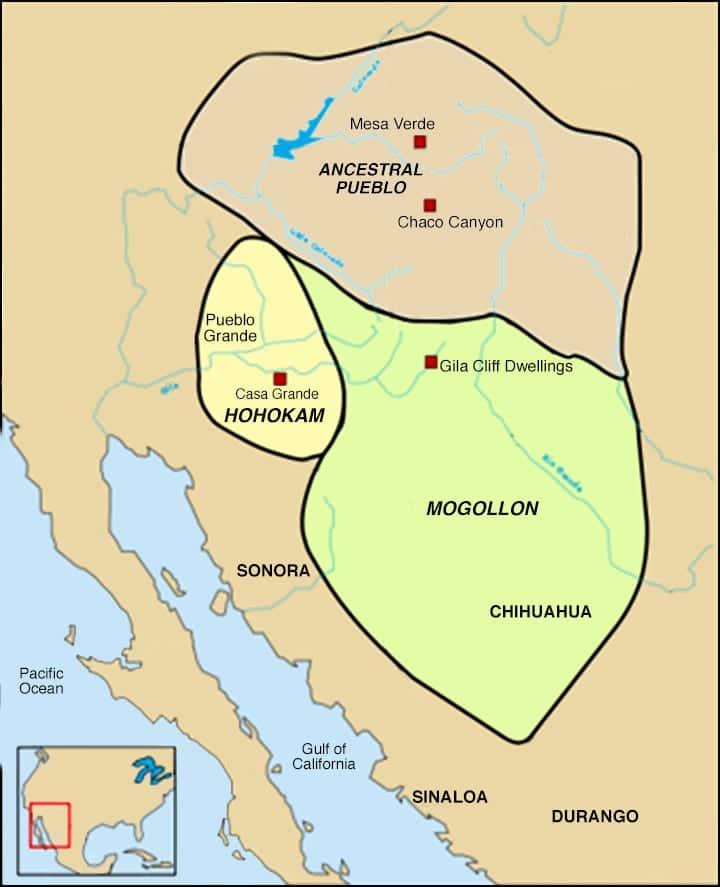 Ancestral Pueblo Map Four Corners Region