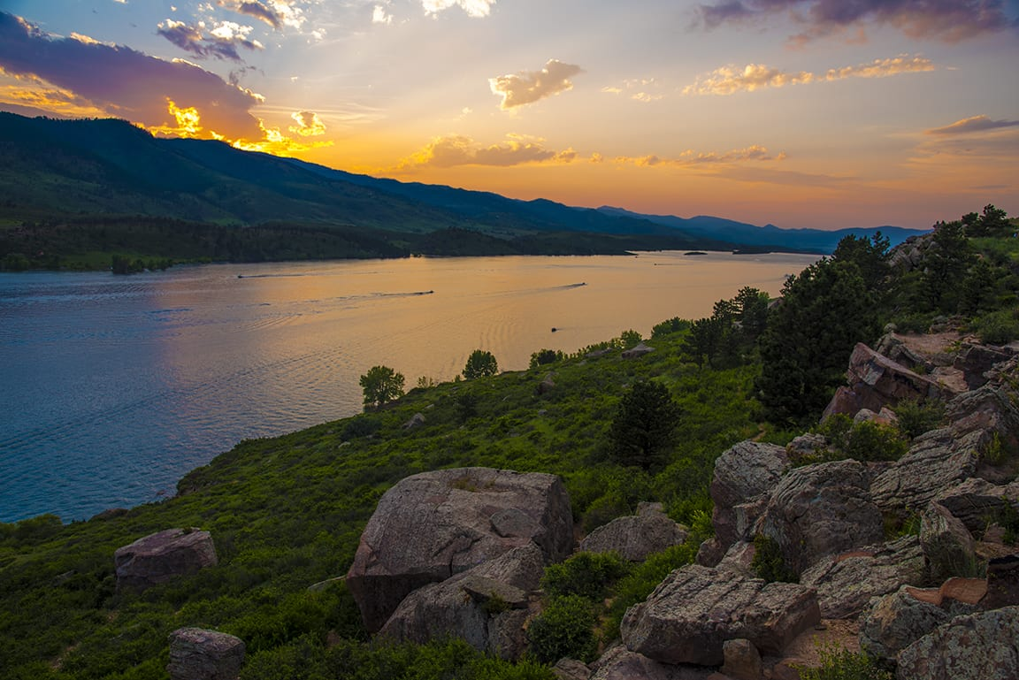 Sunset over Horsetooth Reservoir from Rotary Park Fort Collins CO