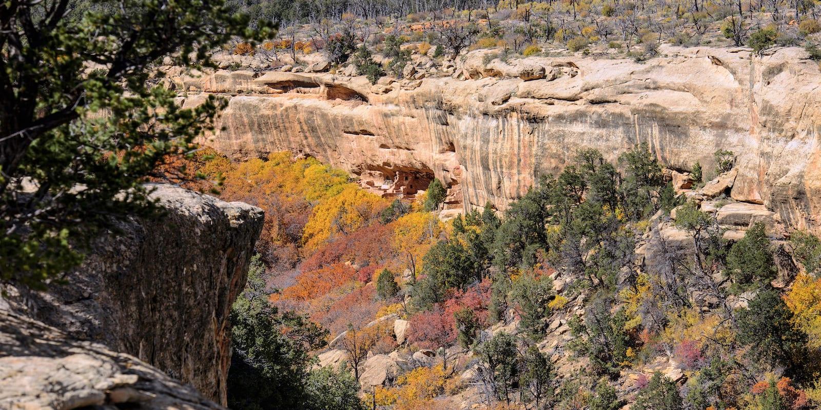 Ancient Cliff Dwellings Autumn Colors Mesa Verde National Park Colorado