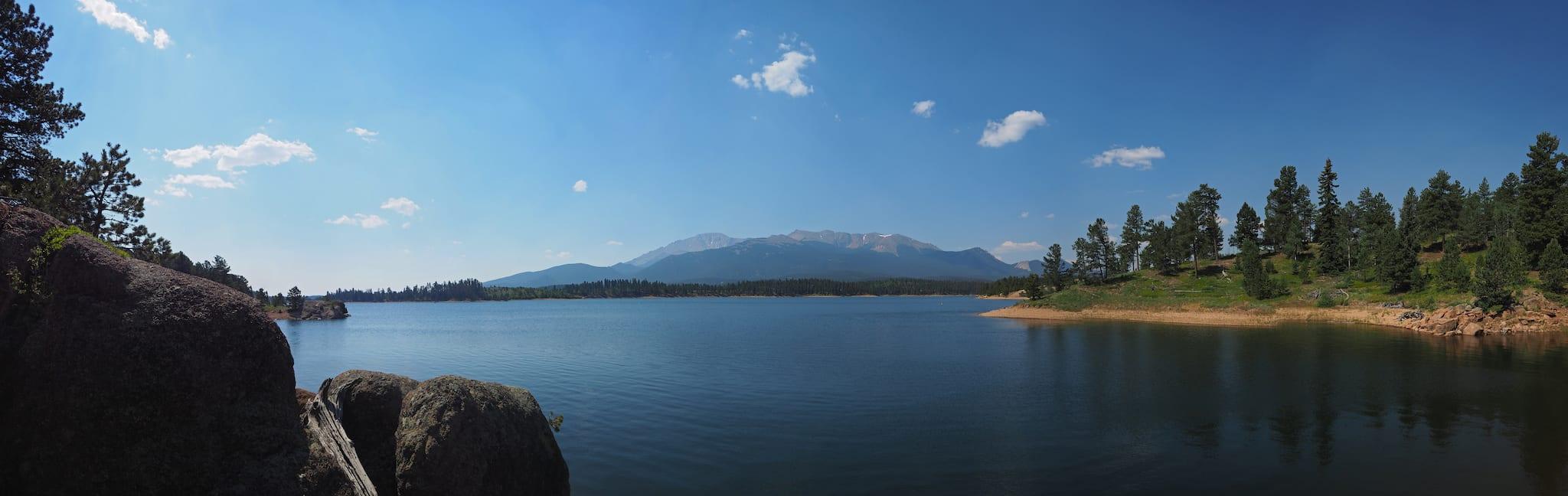 North Catamount Reservoir Pikes Peak Colorado Panorama