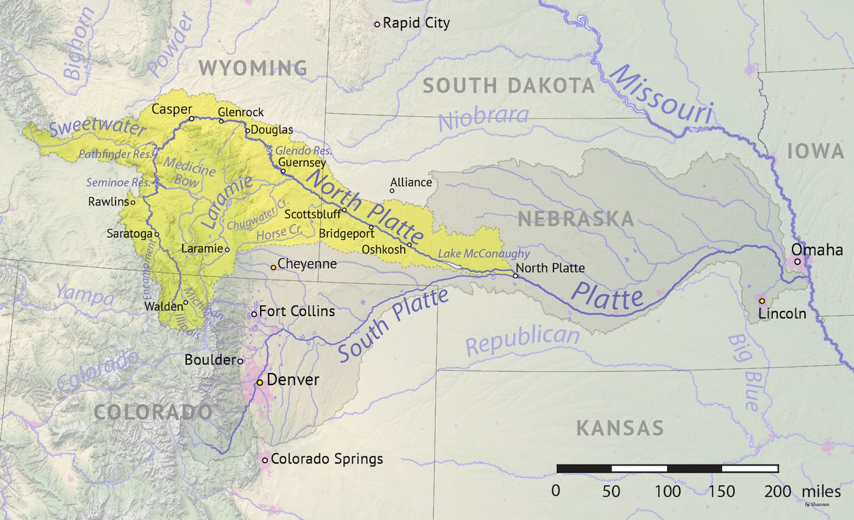 North Platte River Drainage Basin Map