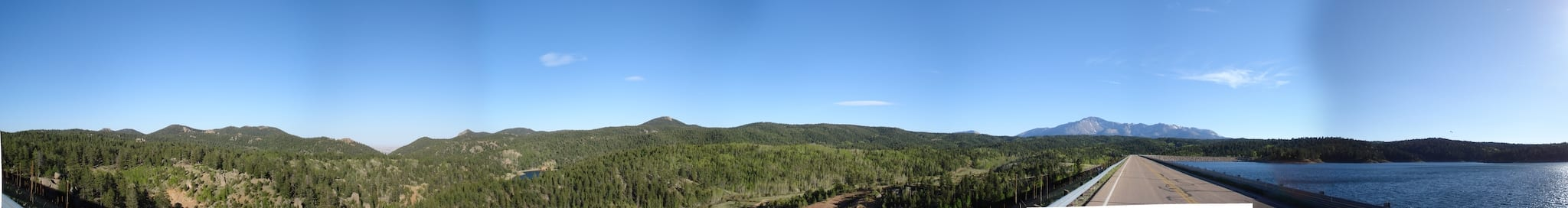 Rampart Reservoir Dam Pike National Forest Pikes Peak in Distance Panorama