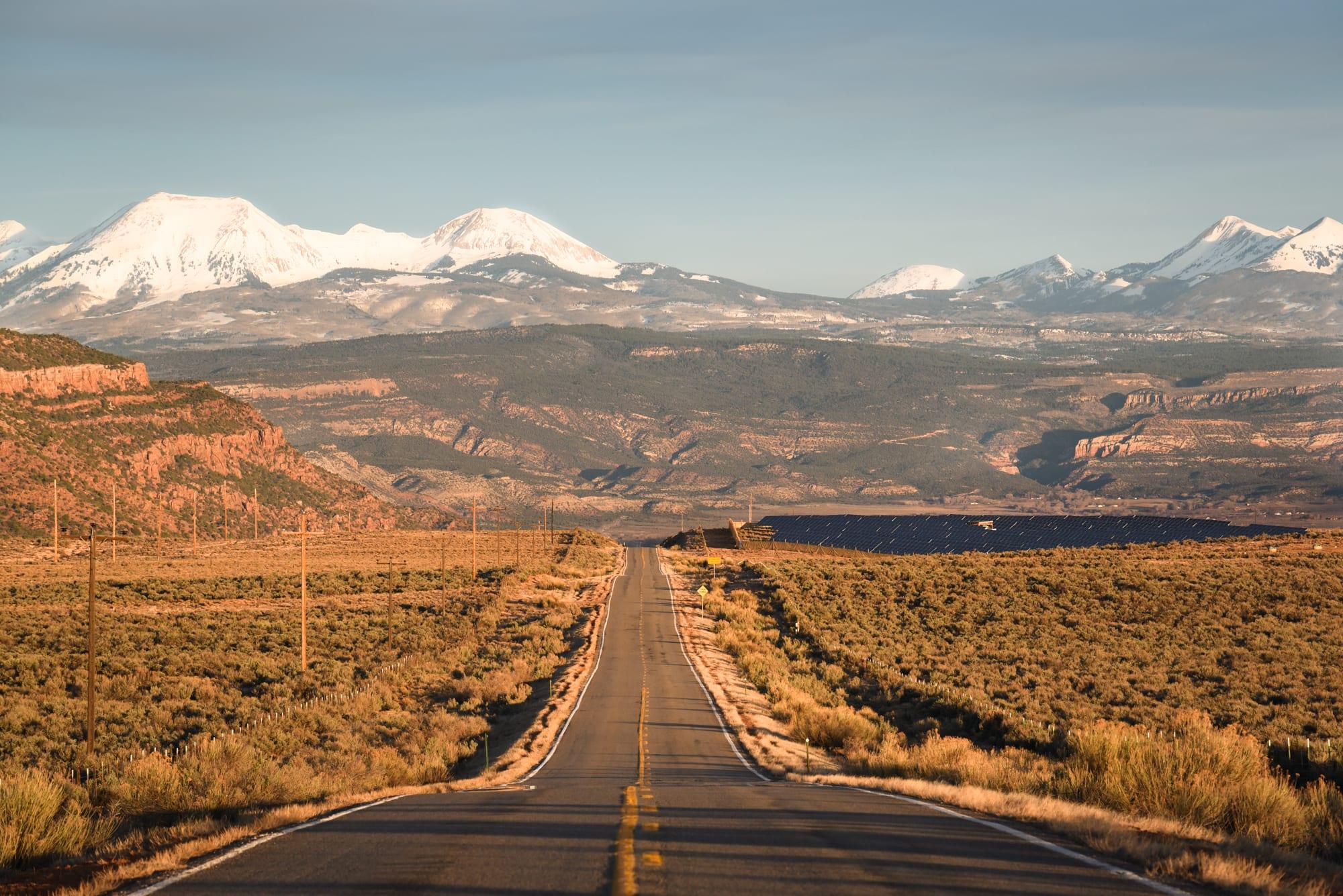 Paradox Valley Colorado Road La Sal Mountains in Distance Utah