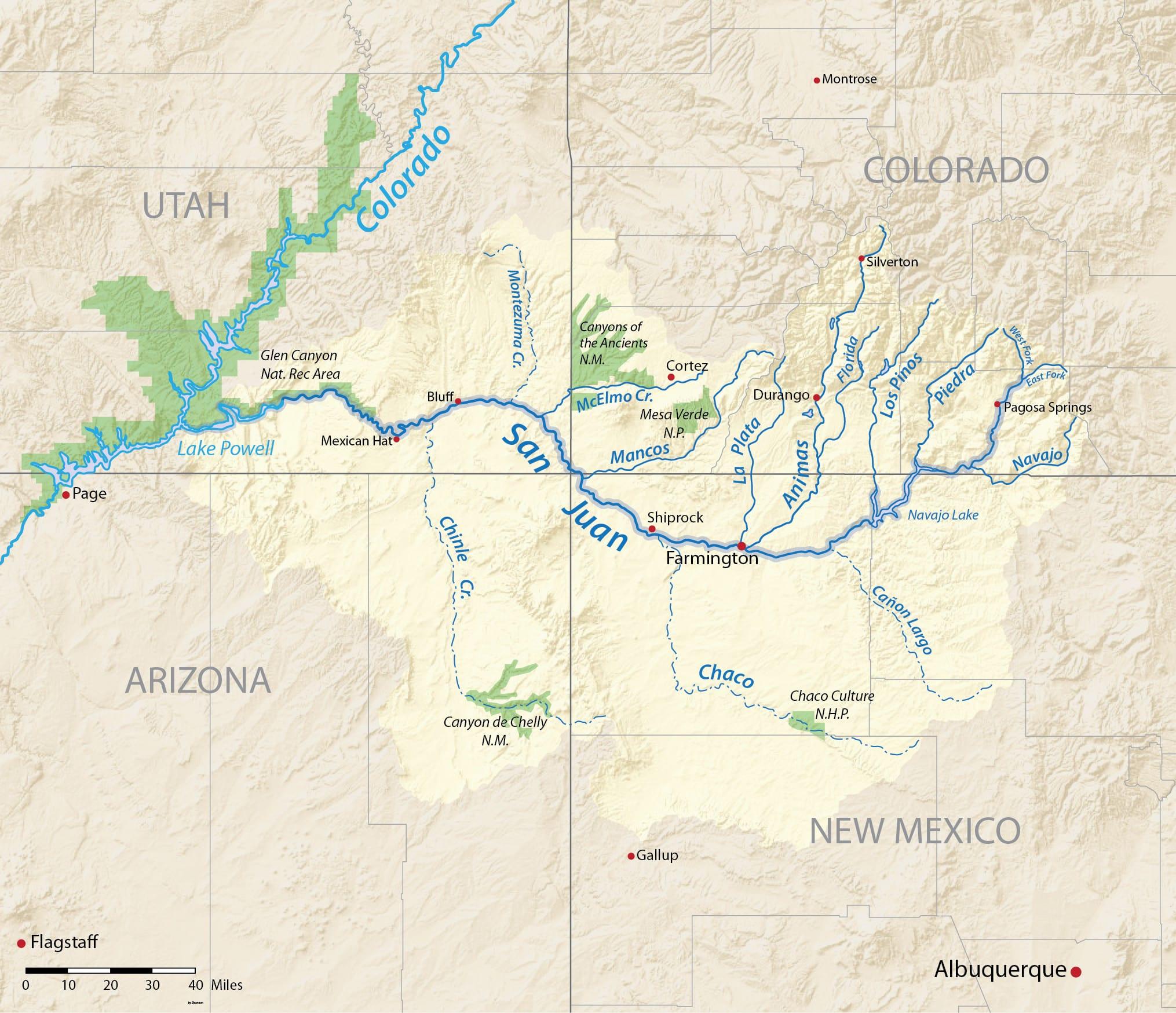 San Juan River Drainage Basin Map