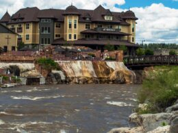 San Juan River Passing The Springs Resort in Pagosa Springs CO