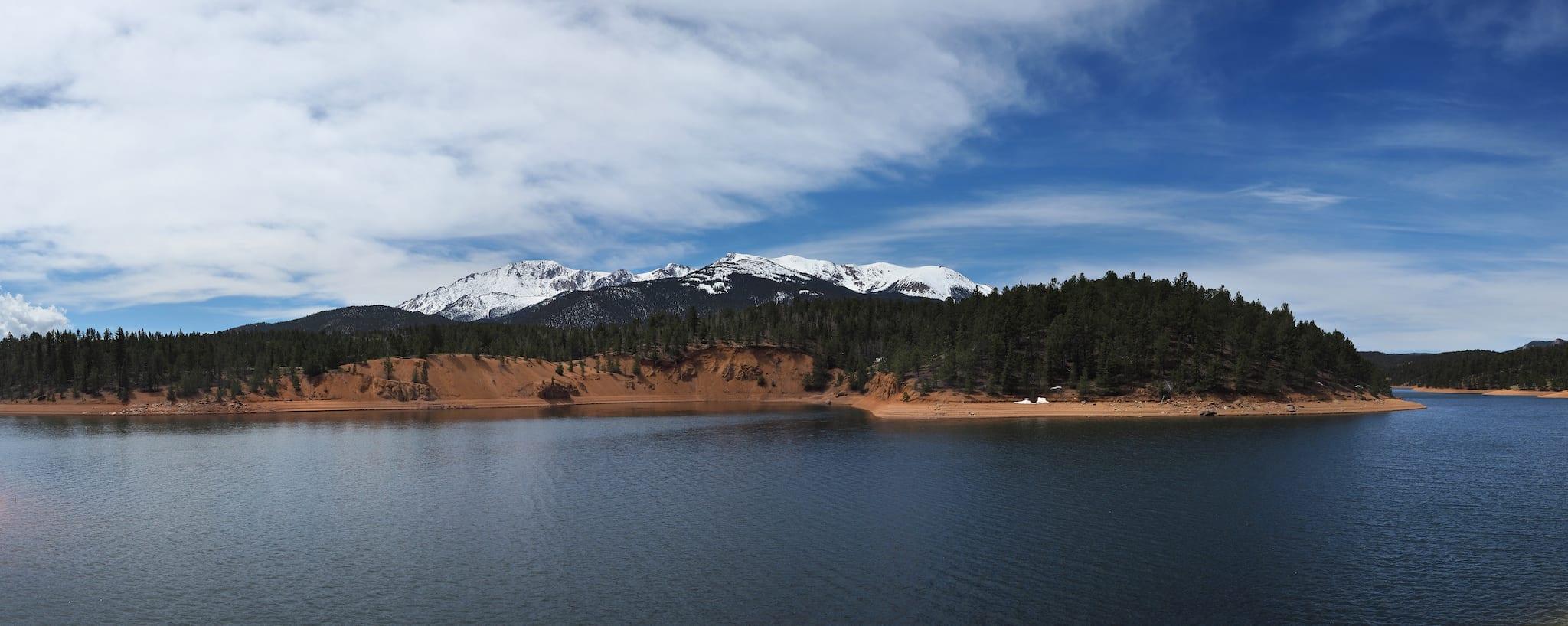 South Catamount Reservoir Pikes Peak Colorado Panorama