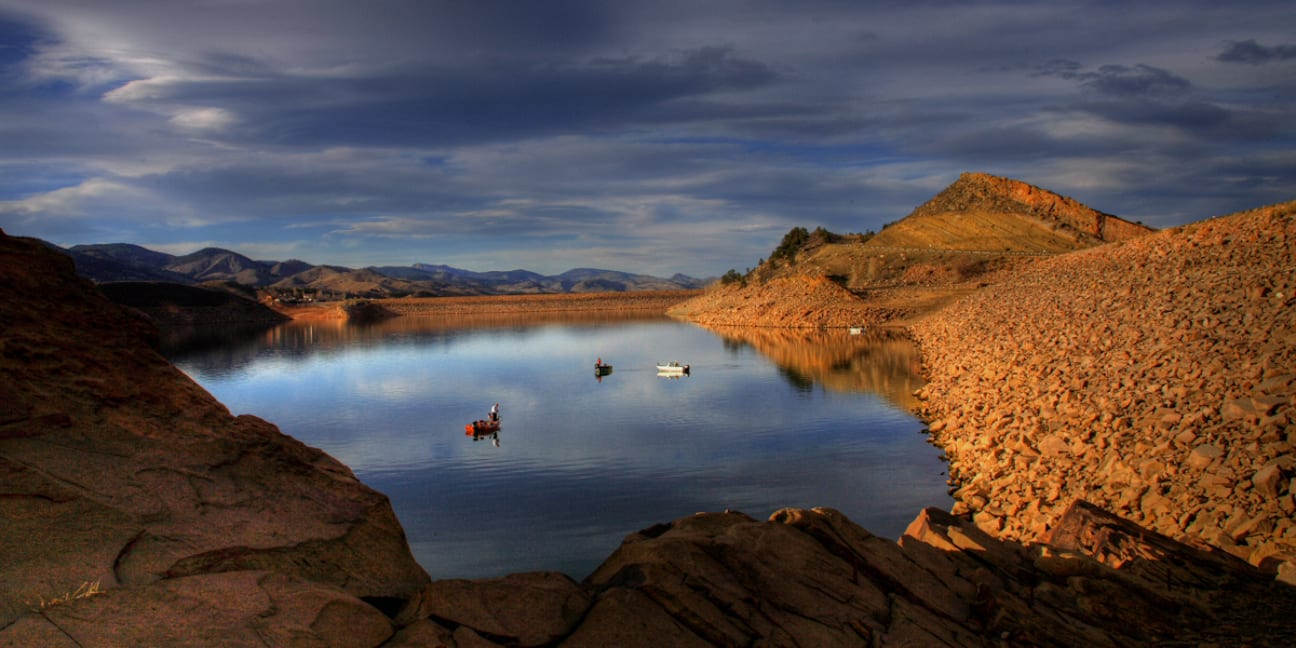 Fishing Boats on Horsetooth Reservoir Fort Collins CO