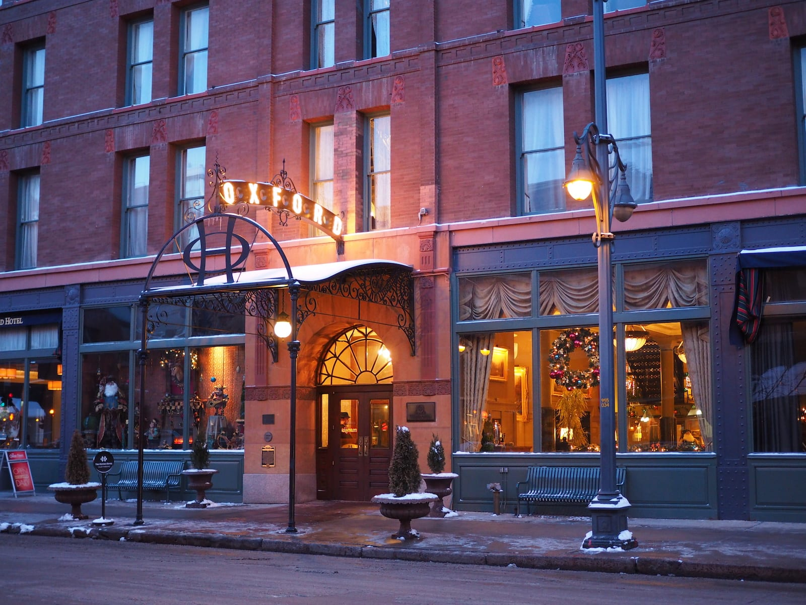 Oxford Hotel Downtown Denver Winter Evening
