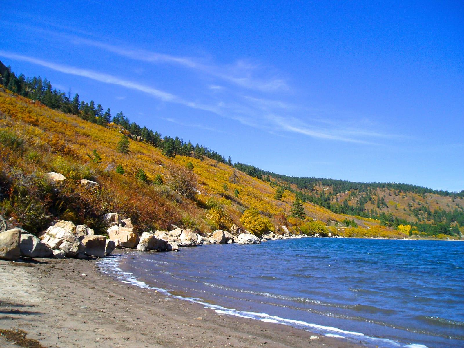 Trinidad Lake Colorado Beach Shore Fall Colors