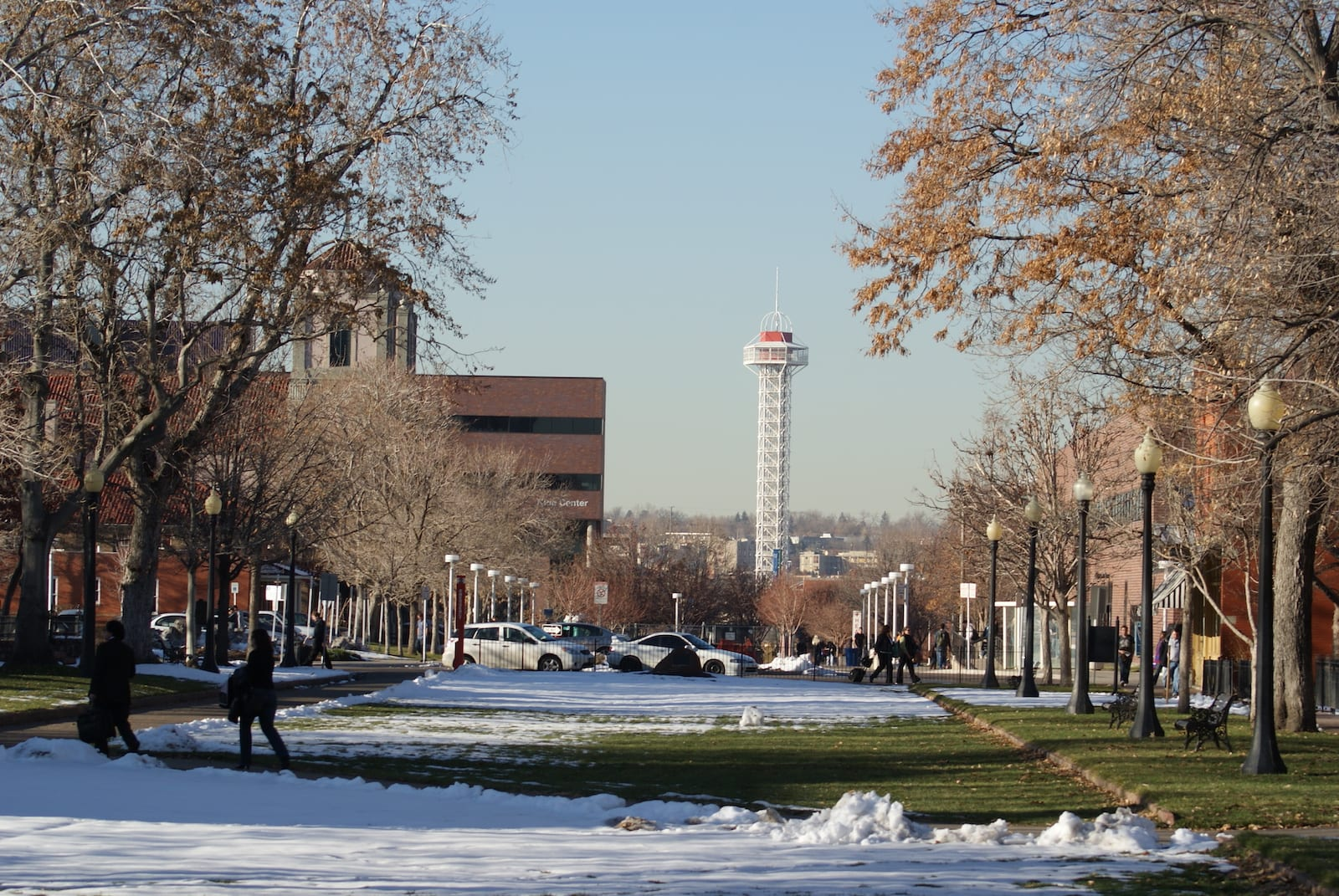 Auraria Campus Denver CO Students Walking in Snow