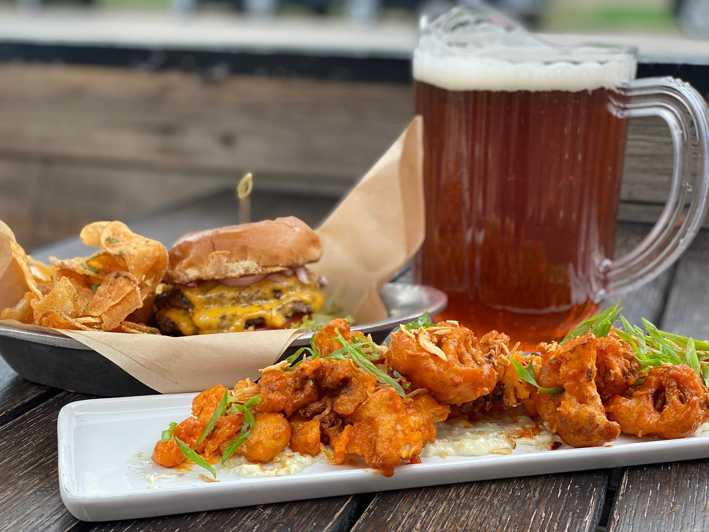 image of food and beer at briar common denver