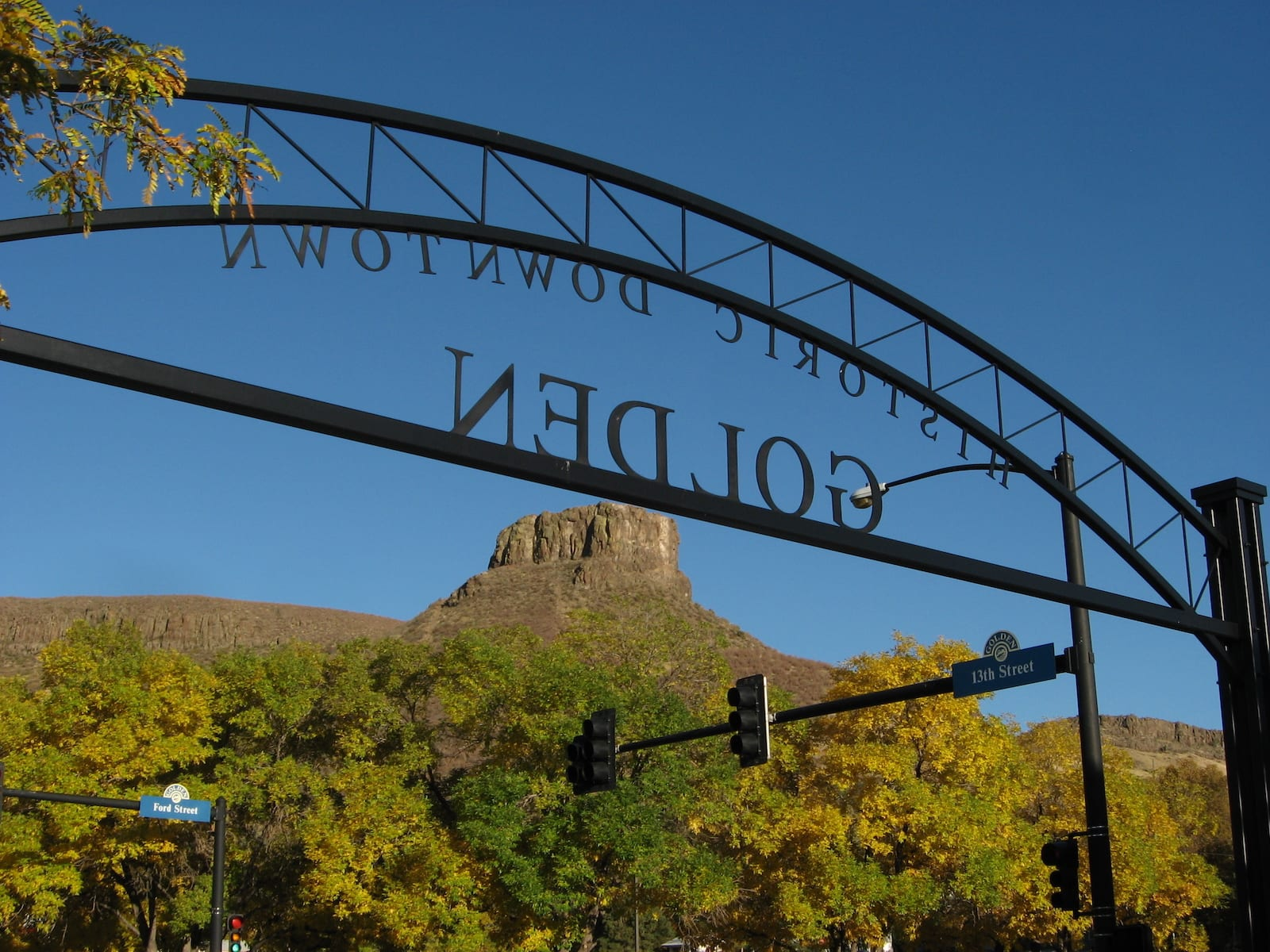 Historic Downtown Golden Sign Mesa Top