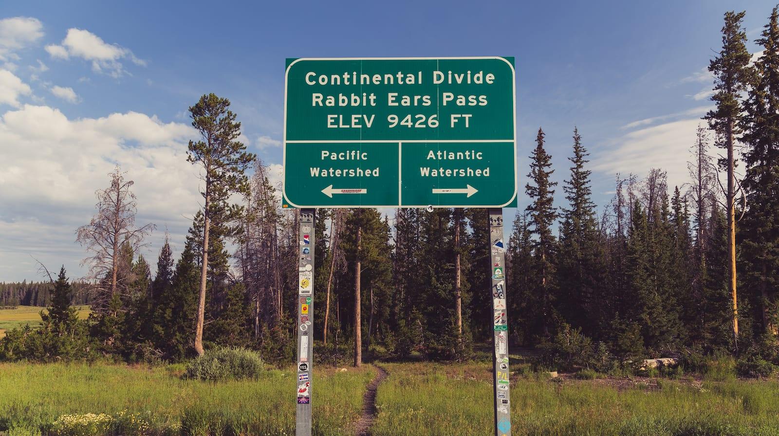 Rabbit Ears Pass Continental Divide Sign