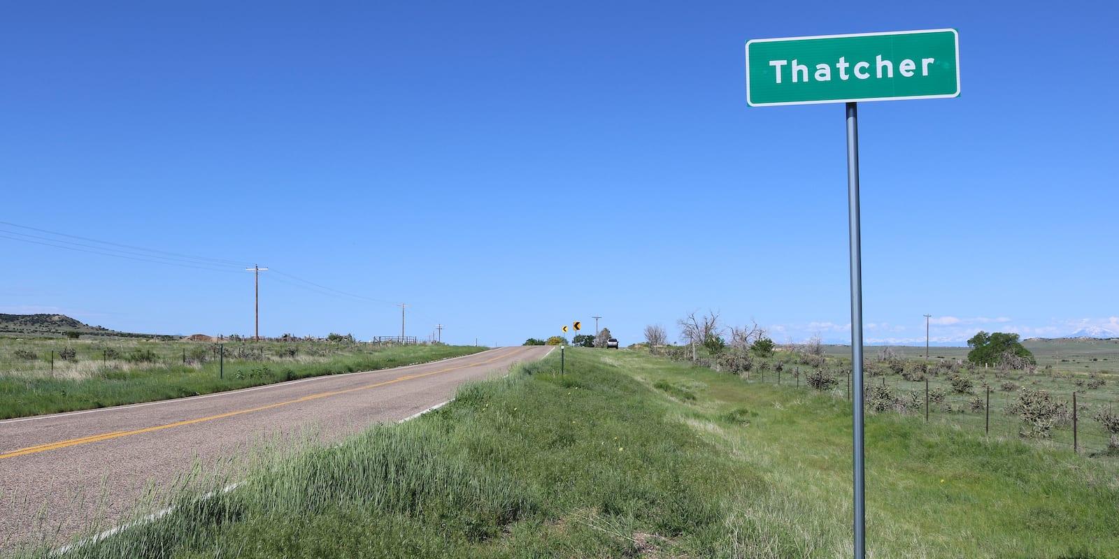Thatcher, Colorado US-350 Sign