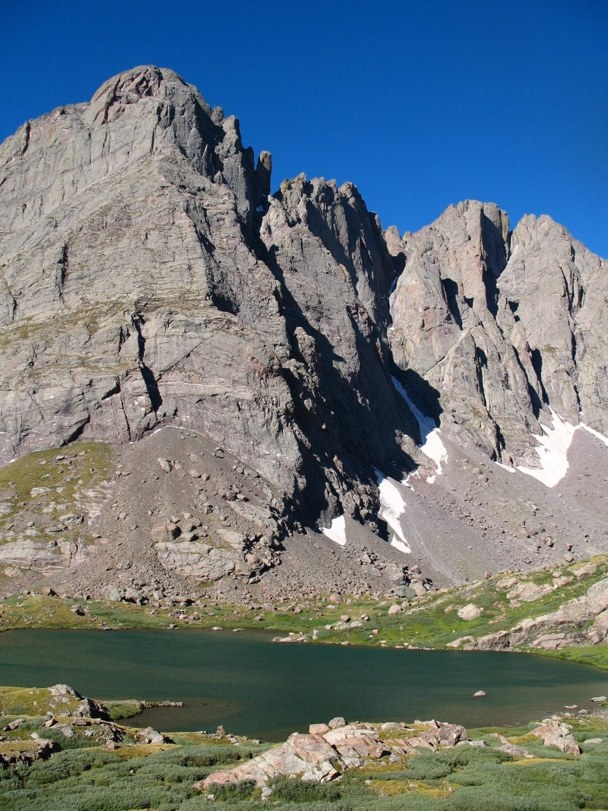Crestone Needle rising over Lower South Colony Lake, CO