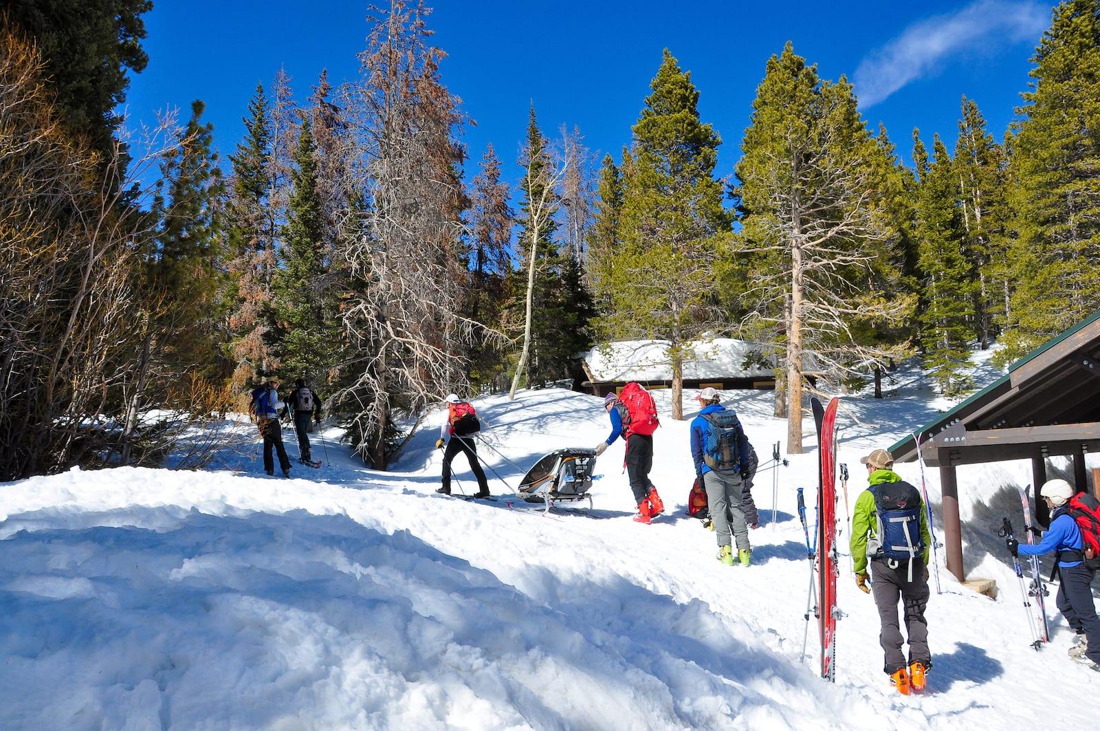 Hikers at Bear Lake trailhead, Colorado