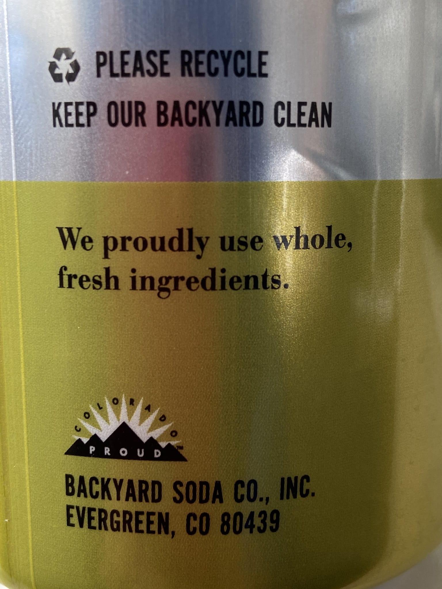 Backyard Soda Co. Made in Evergreen, Colorado