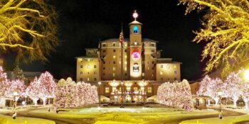 The Broadmoor Hotel Christmas Lights on Trees Outside Colorado Springs