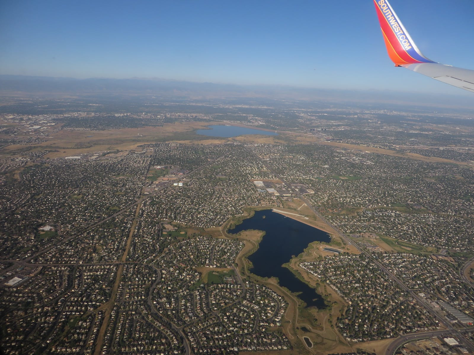 Cherry Creek Reservoir Aerial View from Airplane Denver Colorado