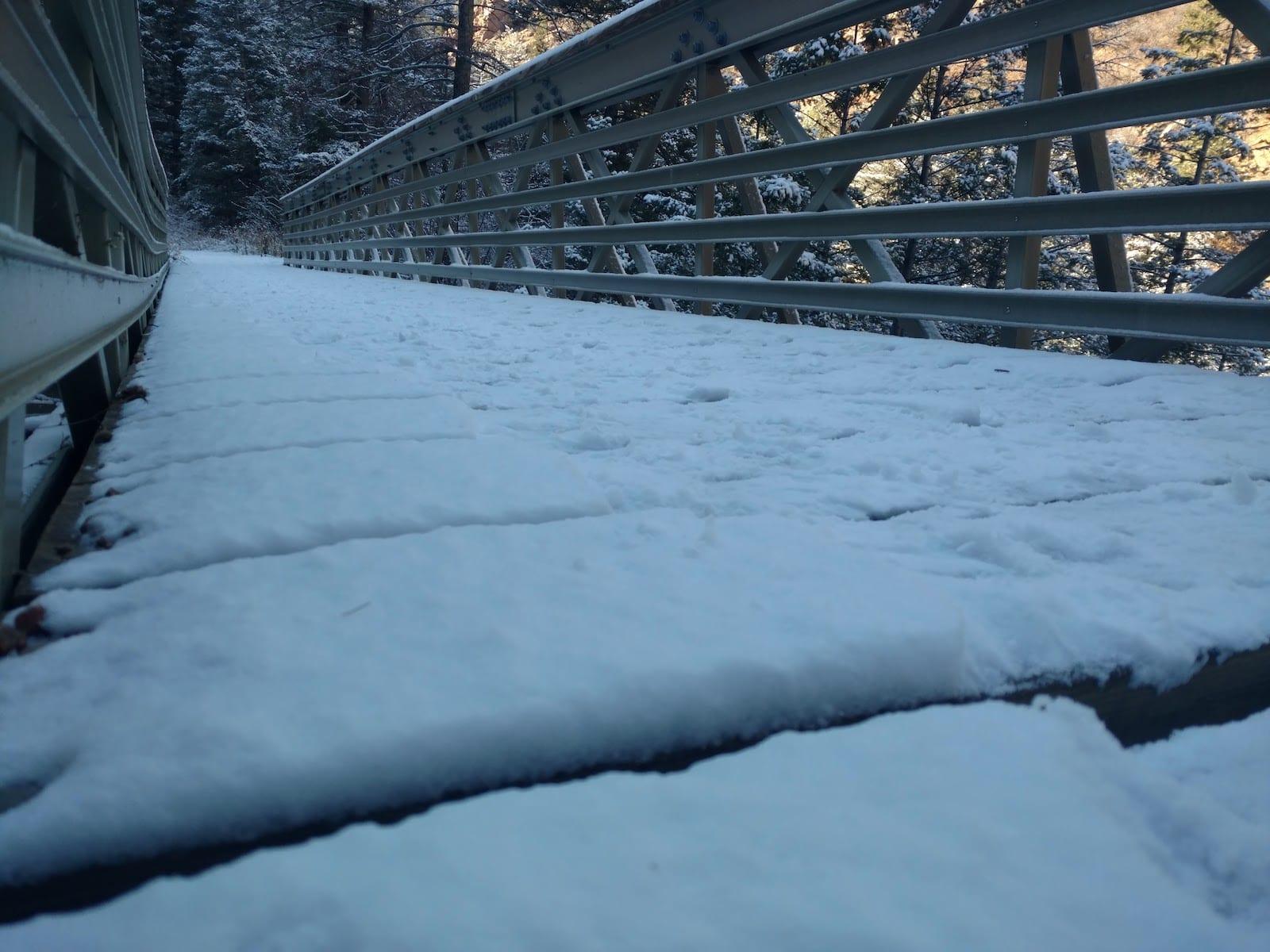 Cheyenne Canyon Winter Nature Walk over bridge