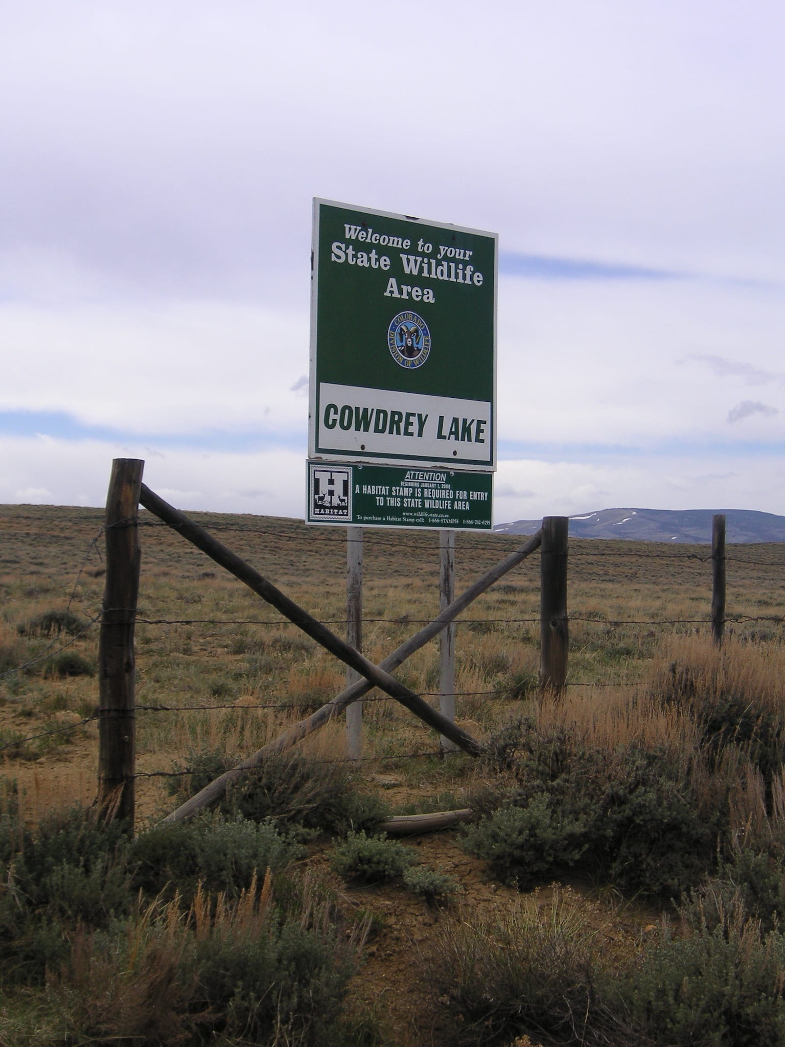 Cowdrey Lake State Wildlife Area Colorado Sign