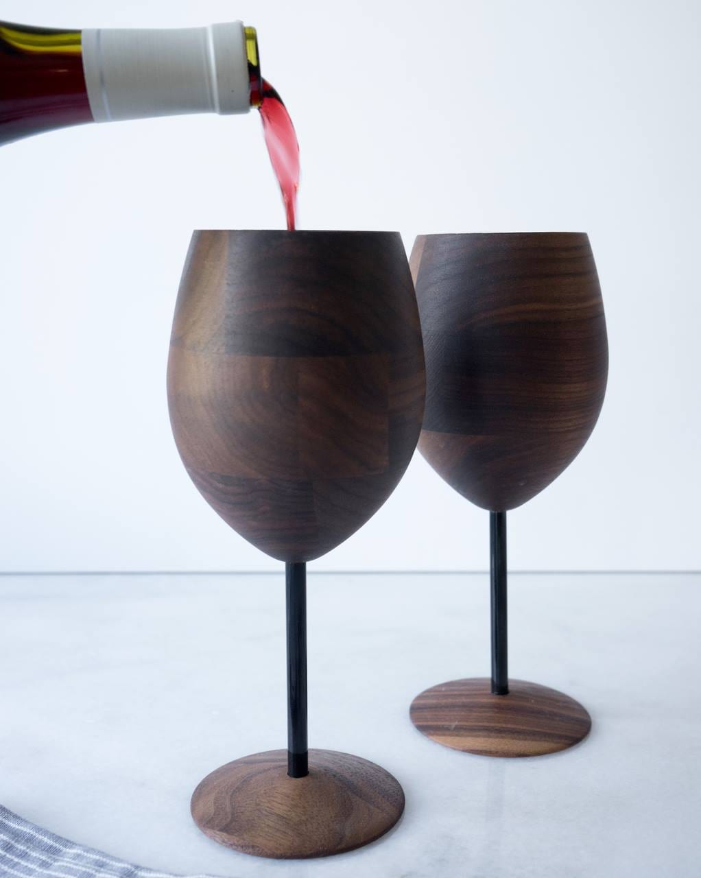 image of wooden wine glasses