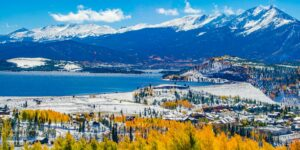 Dillon Dam and Reservoir Silverthorne Colorado Autumn Snow and Colors