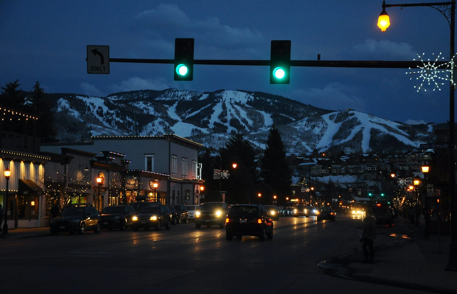 Dusk in Downtown Steamboat Springs with view of Ski Resort Winter