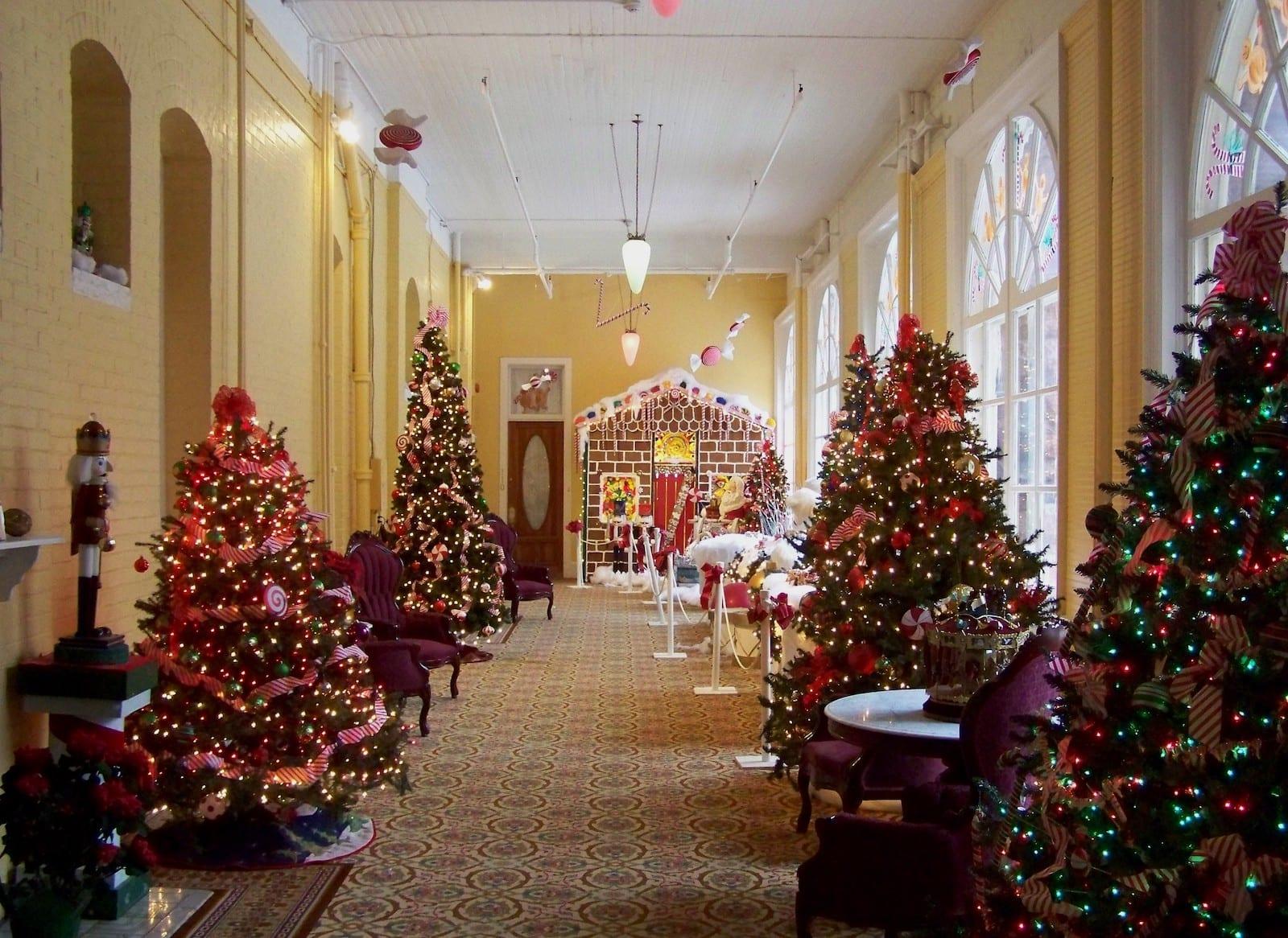 Hotel Colorado Christmas Trees in Hallway Glenwood Springs