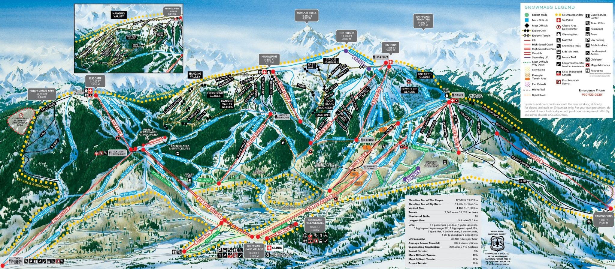 Snowmass Ski Resort Trail Map