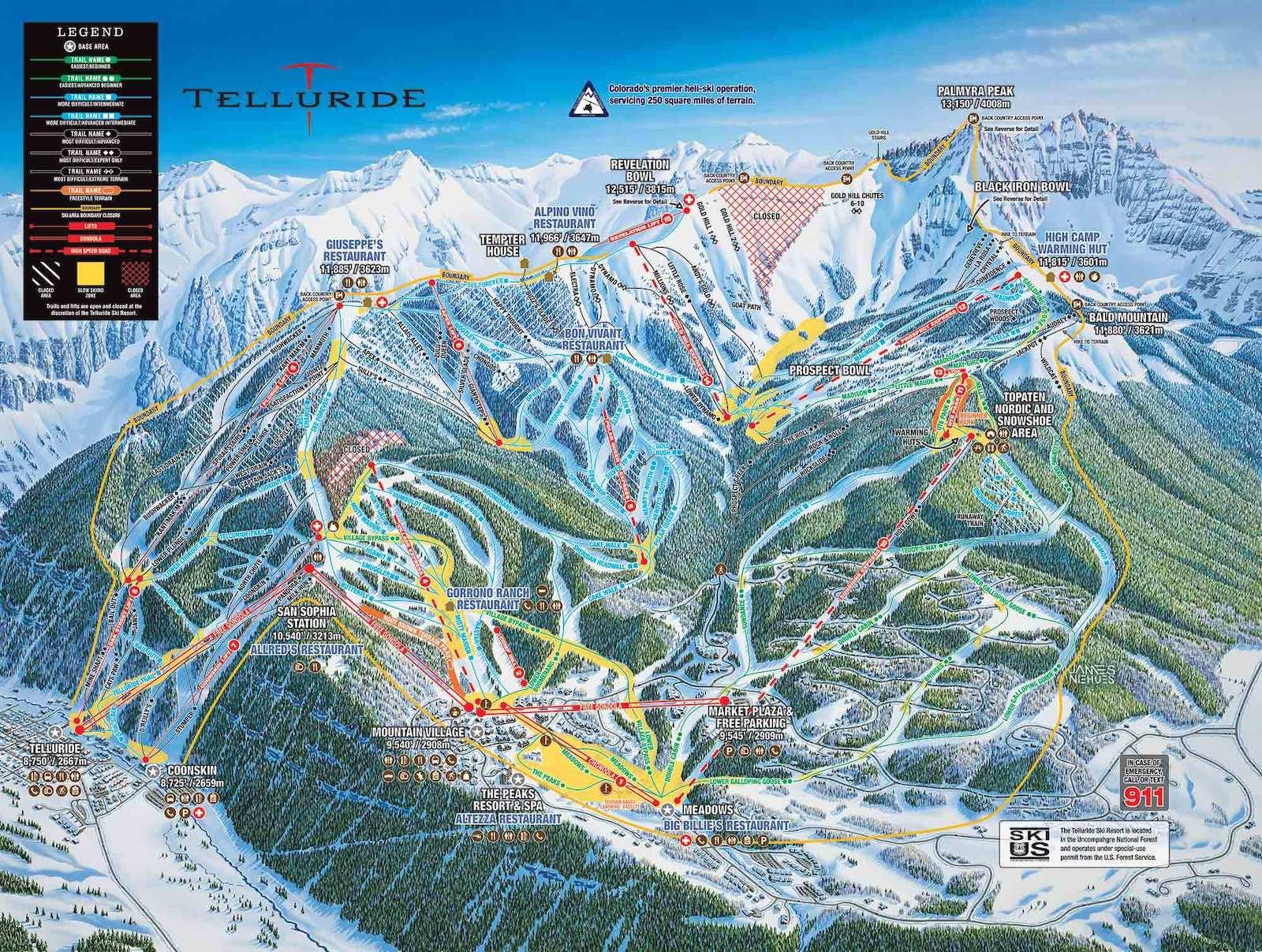 Telluride Ski Resort Trail Map