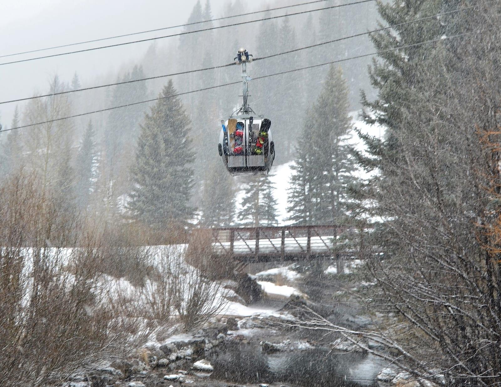 Gondola Car Telluride Ski Resort Snow Falling