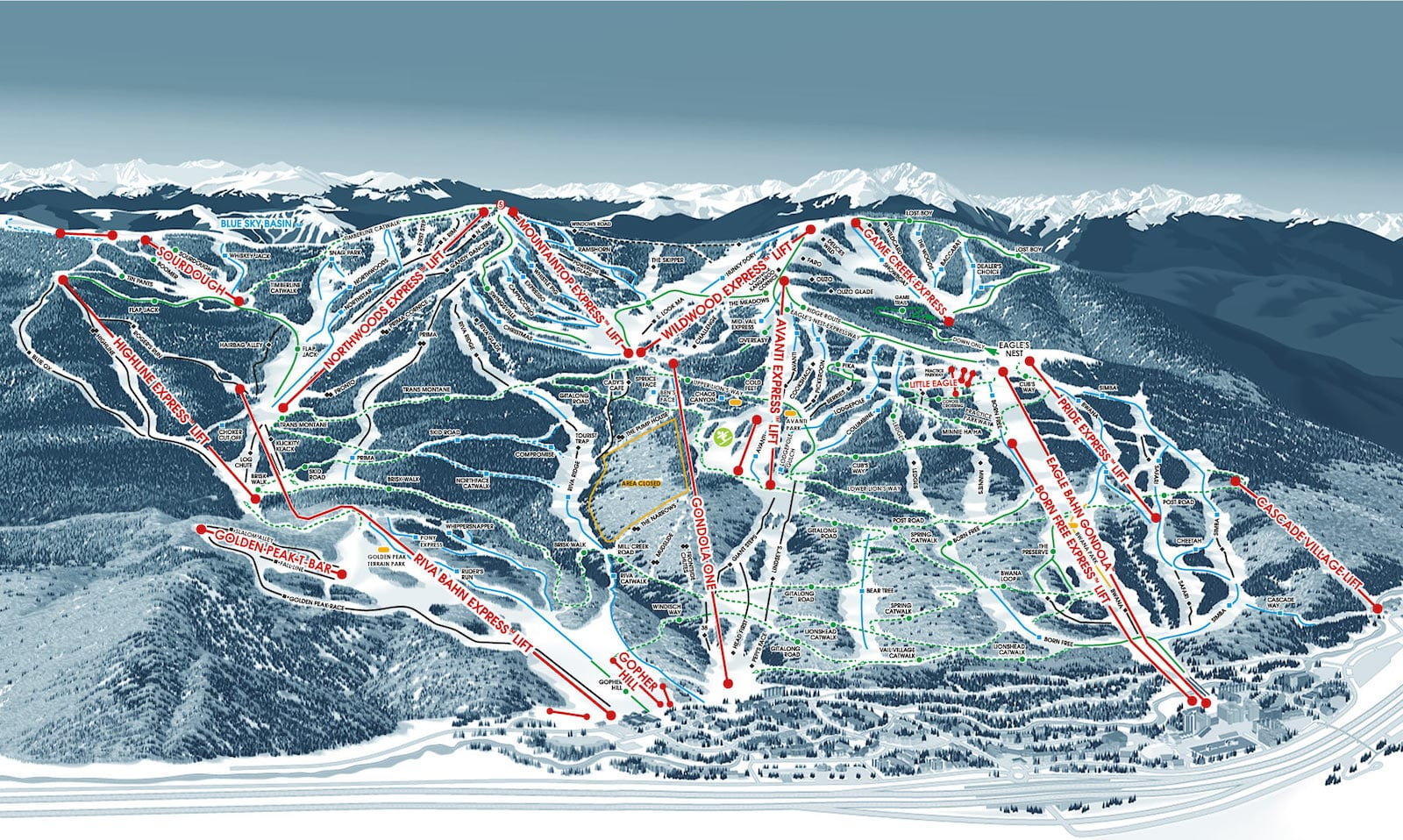 Vail Ski Resort Trail Map Front Side
