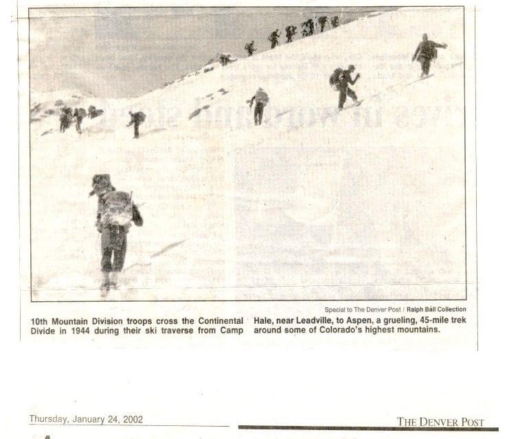 10th Mountain Division Crossing the Divide from Leadville to Aspen Newspaper Clipping