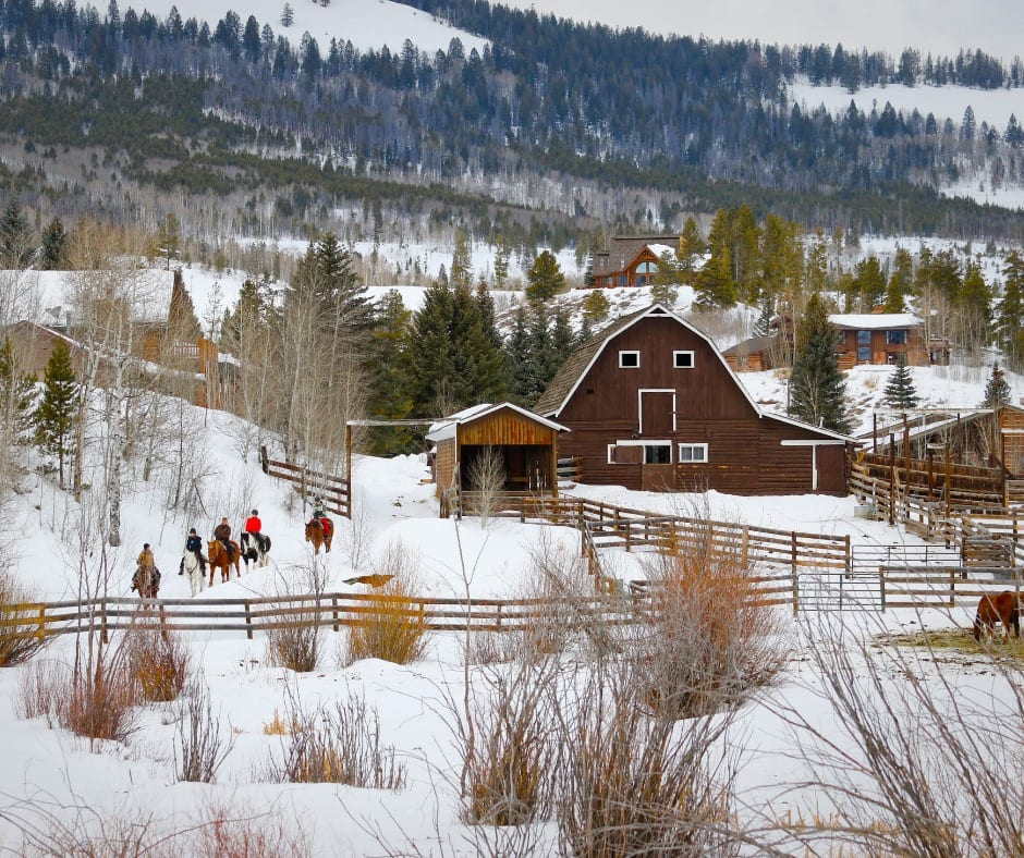 Image of people horseback riding in the snow at C Lazy U Ranch, CO
