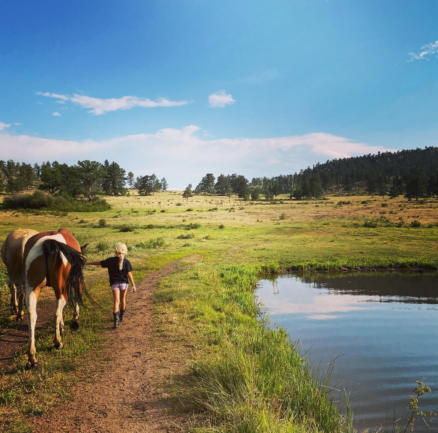 Image of a little girl walking with a horse at Sundance Trail Guest Lodge, CO