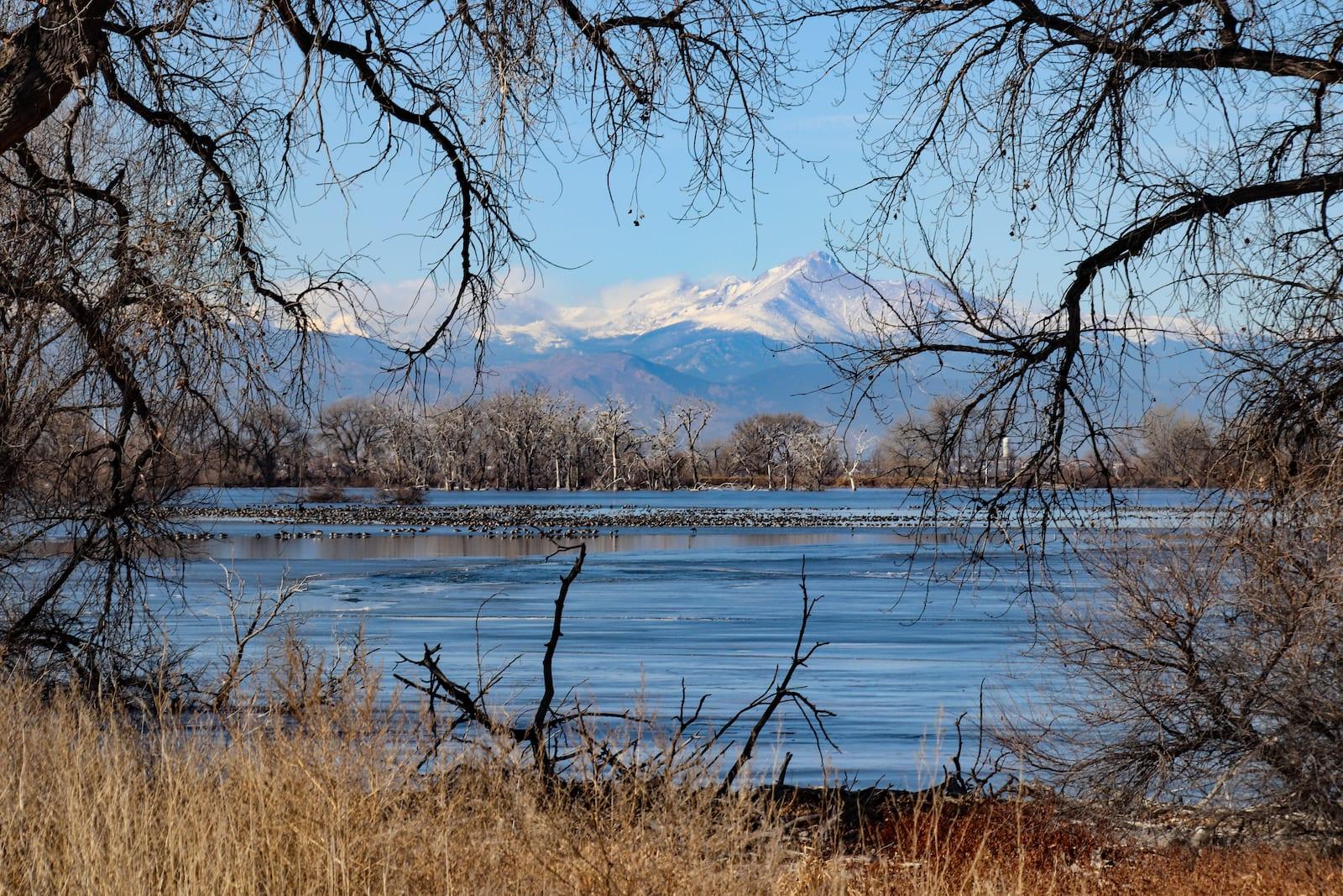 Barr Lake Longs Peak in distance Colorado