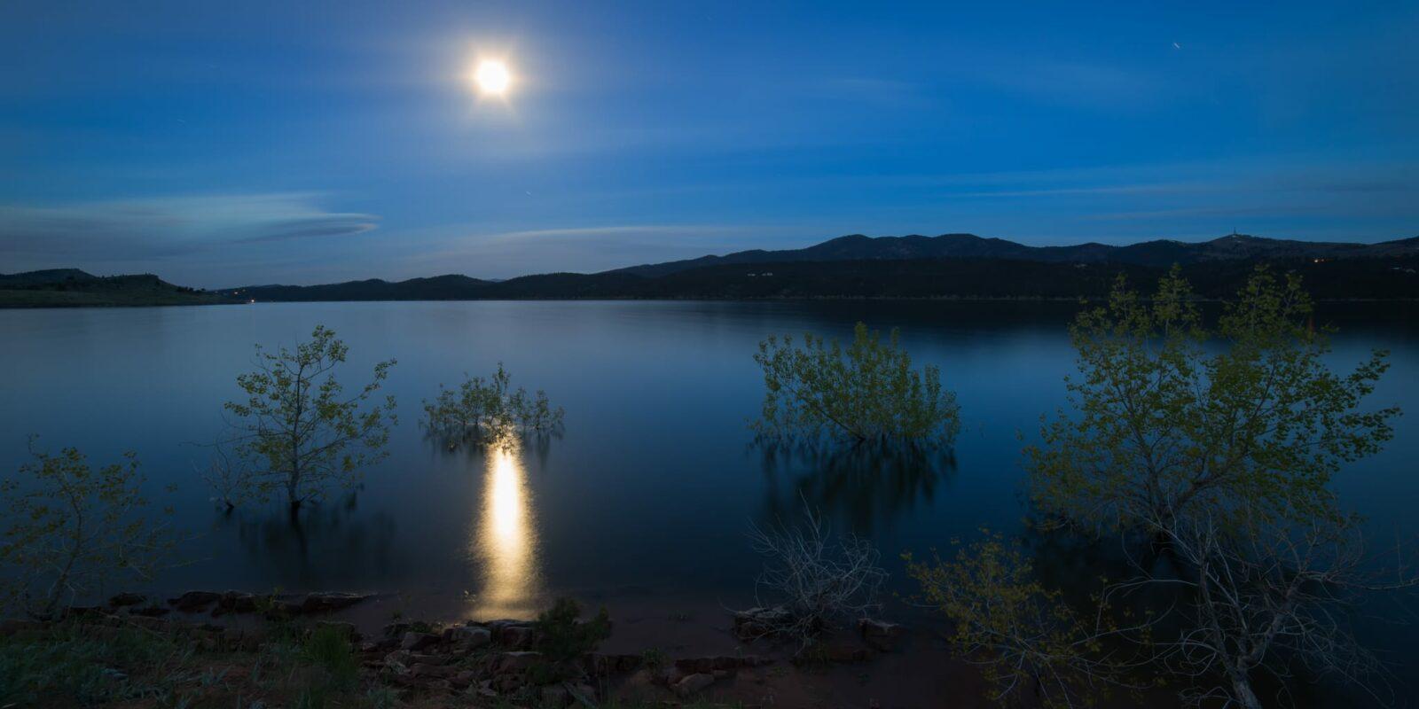 Carter Lake Berthoud Colorado Moon Shining