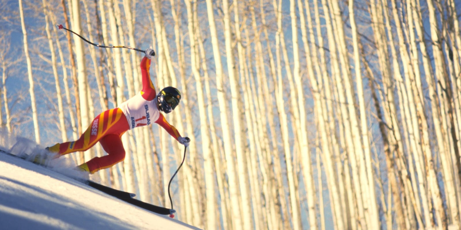 Downhill Ski Racer on Ruthie's Run Aspen Colorado