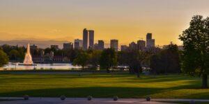 Ferril Lake City Park Denver Skyline Sunset