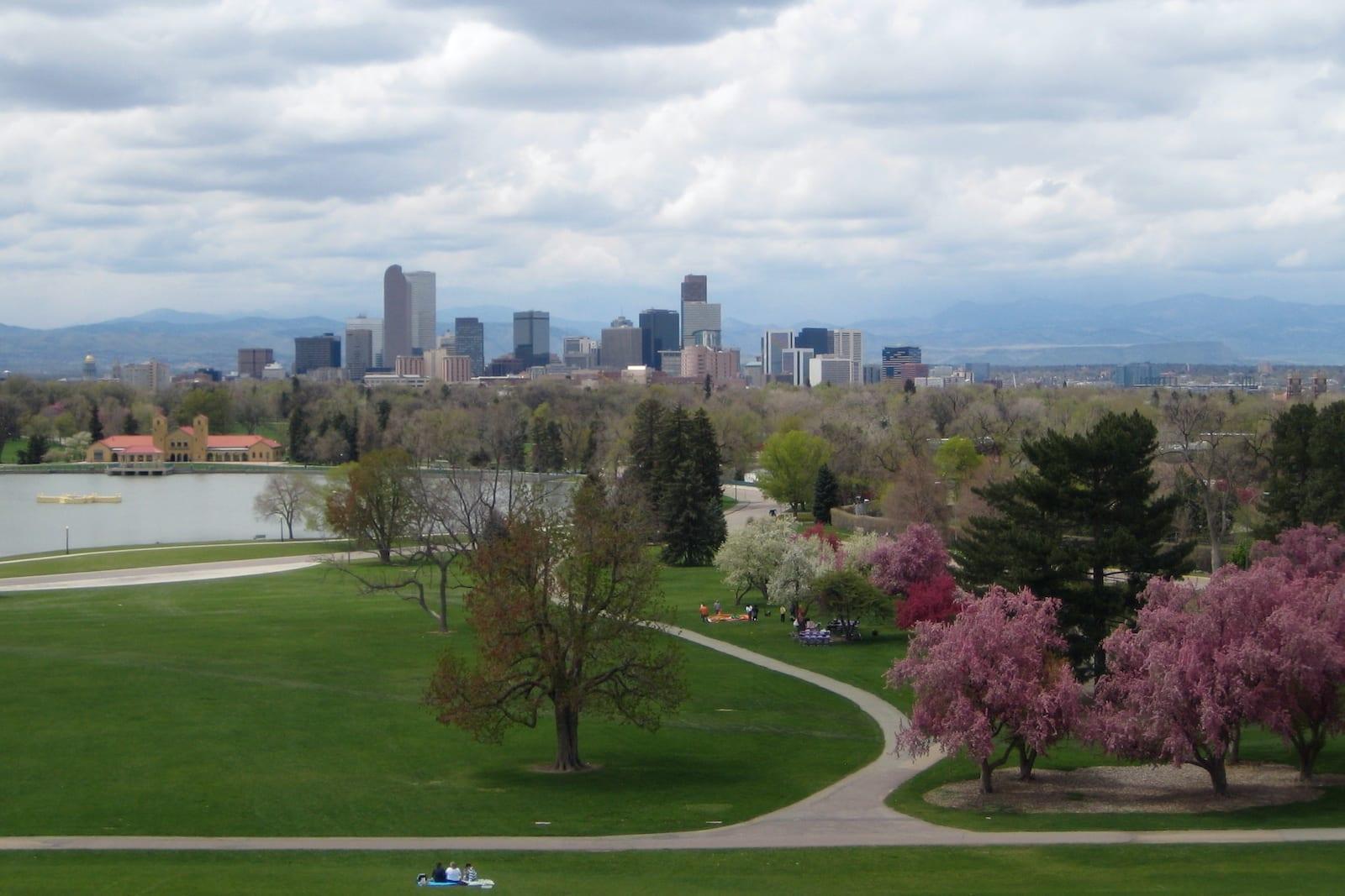 Denver Skyline City Park Denver CO Ferril Lake