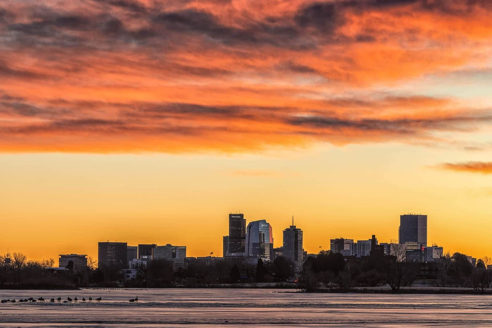 Sloan's Lake Denver Skyline Winter