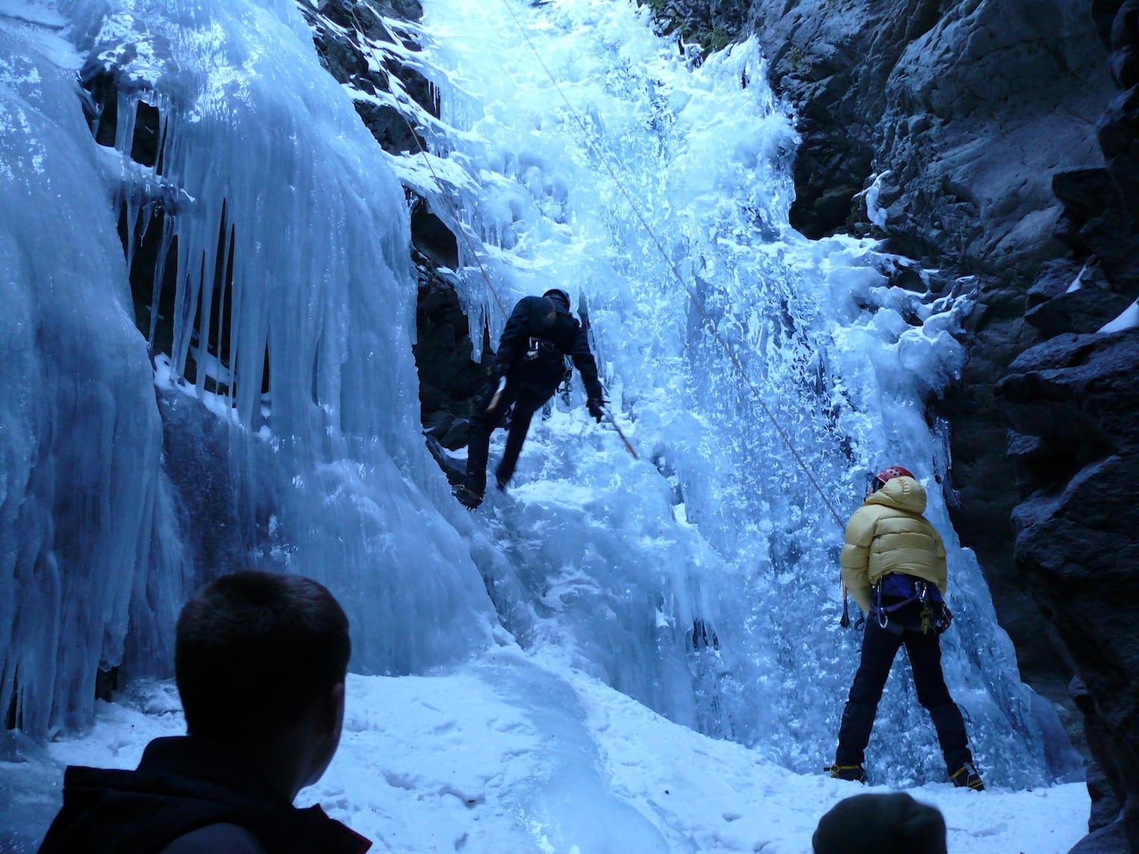 Zapta Falls Winter Ice Climbers