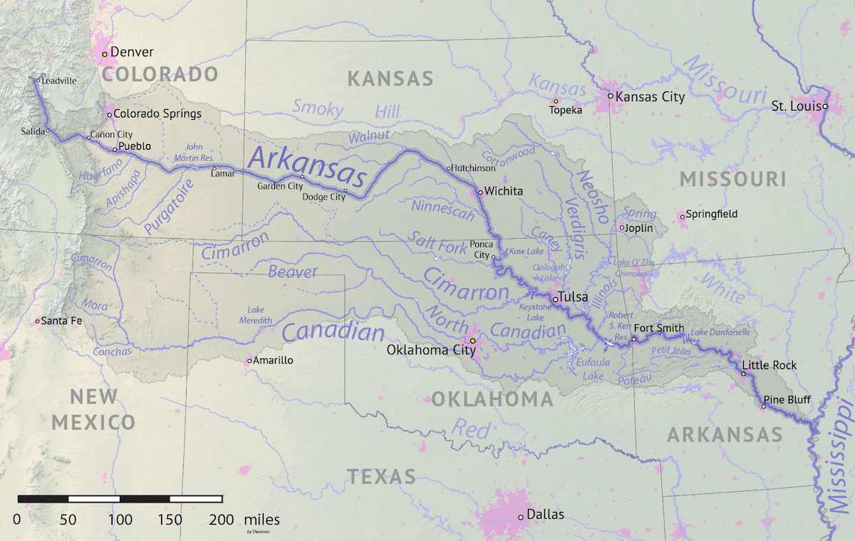 Image of the Arkansas River on a map