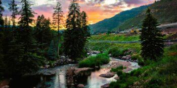 Image of Gore Creek at sunset