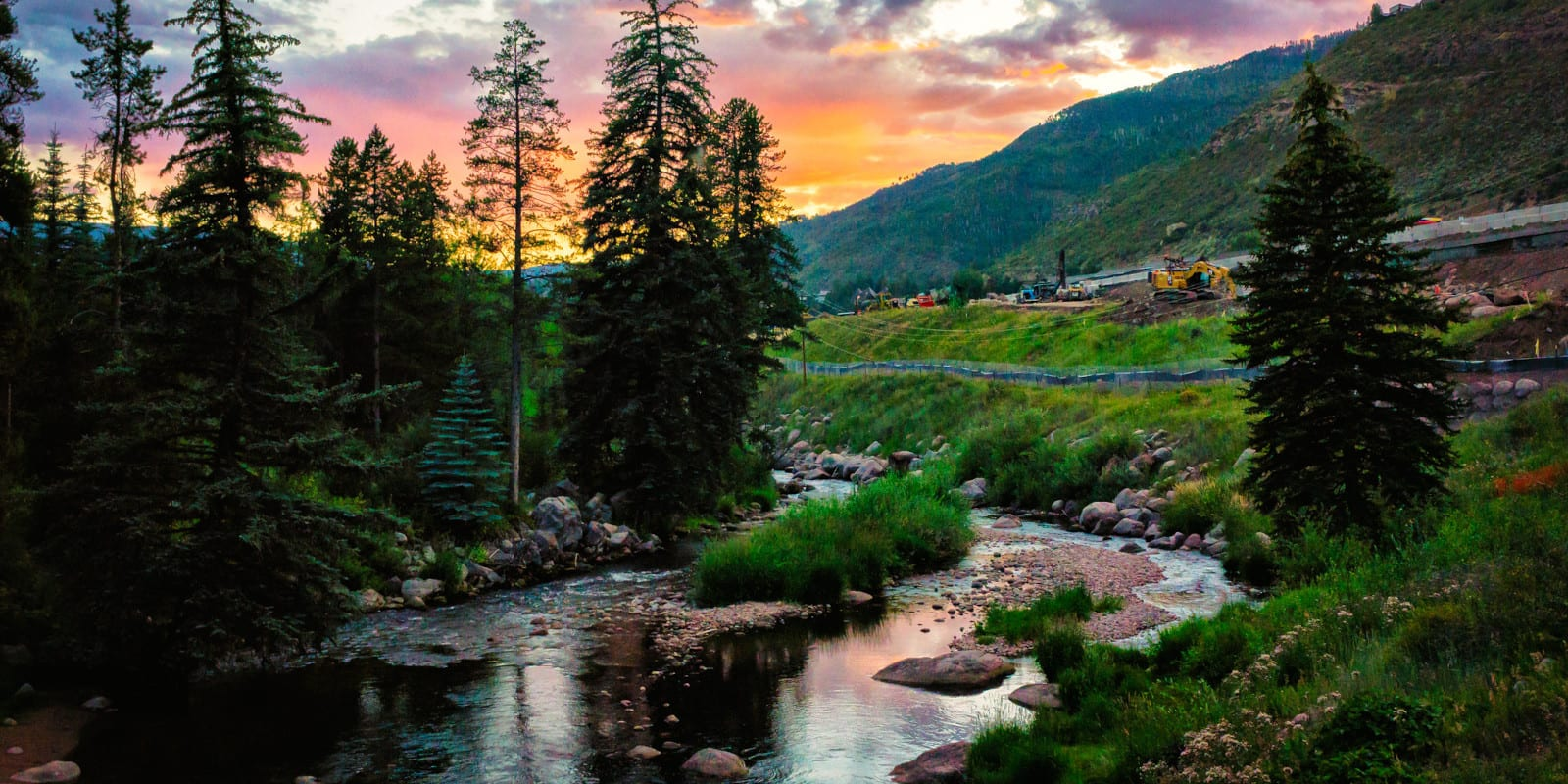 Image of Gore Creek at sunset